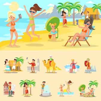 Szczęśliwi ludzie na wakacje koncepcji