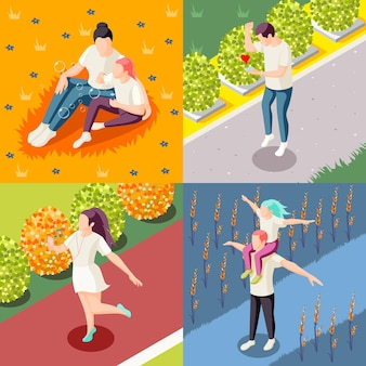 Szczęśliwi ludzie na zewnątrz 4 izometryczne ikony