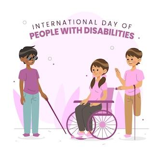 Szczęśliwi Ludzie Niepełnosprawni Premium Wektorów