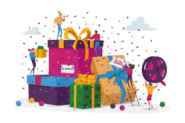 Szczęśliwi ludzie niosą zapakowane pudełka na prezenty i umieszczają w ogromnym stosie