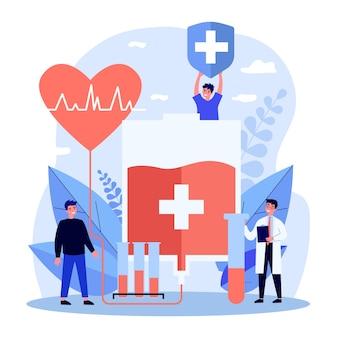 Szczęśliwi ludzie oddający krew. lekarz, próbki laboratoryjne, worek do transfuzji