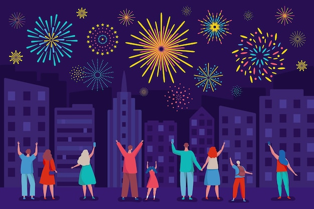 Szczęśliwi ludzie oglądają fajerwerki na nocnym niebie miasto festiwal wakacje wektor ilustracja