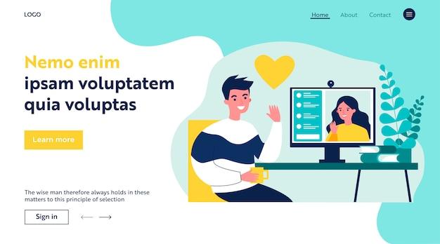 Szczęśliwi ludzie randki online płaski ilustracja