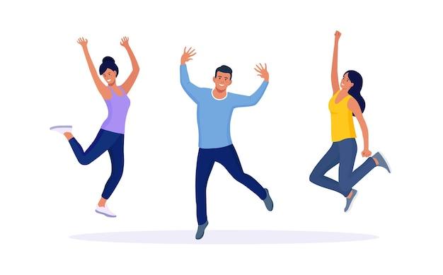 Szczęśliwi ludzie skaczą razem po radosne świętowanie zwycięstwa, zwycięstwa lub osiągnięcia celu. zespół lub grupa przyjaciół z podniesionymi rękami. sukces, triumf