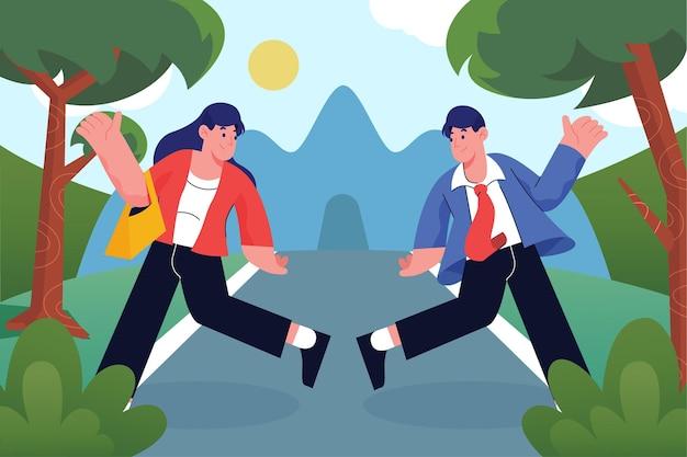 Szczęśliwi ludzie skaczący w parku i idący do pracy