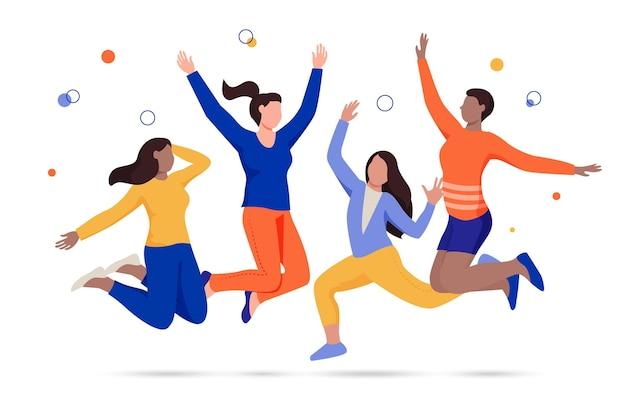 Szczęśliwi ludzie skaczący wydarzenie dnia młodzieży