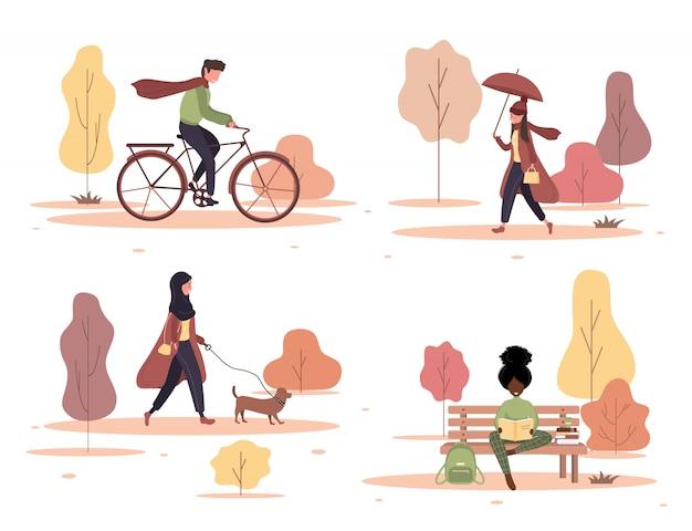 Szczęśliwi ludzie spacery zestaw jesienny park. młoda kobieta siedzi na ławce i czyta. mieszkańcy spacerujący z psem, jeżdżący na rowerze. ilustracja w stylu cartoon płaski.