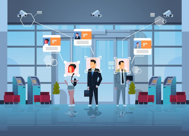 Szczęśliwi ludzie stojący dział finansowy z bankomatami identyfikacja nadzoru inwigilacja cctv rozpoznawanie twarzy centrum biznesowe hala wewnętrzny system kamer bezpieczeństwa