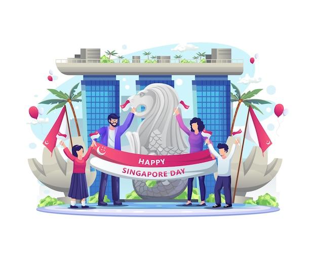 Szczęśliwi ludzie świętują dzień niepodległości singapuru na ilustracji 9 sierpnia 9