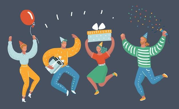 Szczęśliwi ludzie świętują ważne wydarzenie