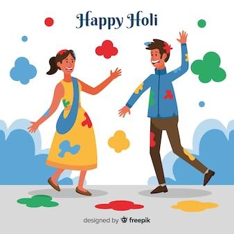 Szczęśliwi ludzie świętuje holi festiwal