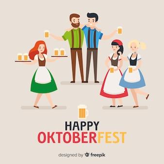 Szczęśliwi ludzie świętuje oktoberfest z płaskim projektem