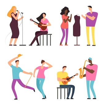 Szczęśliwi ludzie sztuki i muzyki. profesjonalni artyści i muzycy wektor znaków