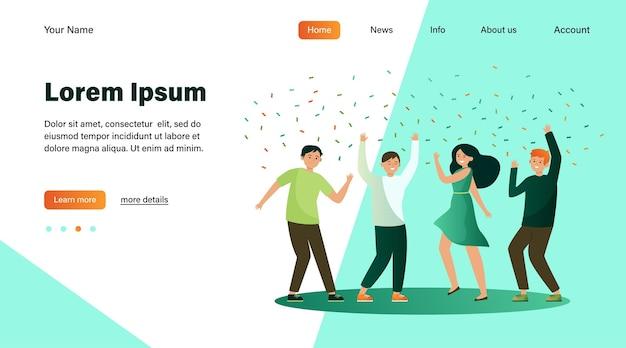 Szczęśliwi ludzie tańczą na imprezie razem płaskie ilustracji wektorowych. kreskówka podekscytowani przyjaciele lub współpracownicy świętują z konfetti. koncepcja osiągnięcia i świętowania