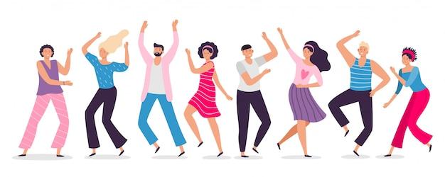 Szczęśliwi ludzie tańczący. przyjaciele tanczą, ilustrują klubowych żeńskich i męskich tancerzy