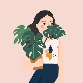 Szczęśliwi ludzie trzymają doniczki z roślinami. ilustracji wektorowych.