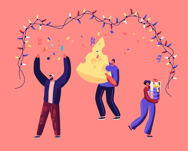 Szczęśliwi ludzie trzymając pudełko i ogromny kawałek sera taniec. płaskie ilustracja kreskówka