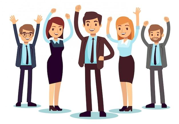 Szczęśliwi ludzie w biurze. pomyślny biznesowy mężczyzna i kobieta wektorowy charakter