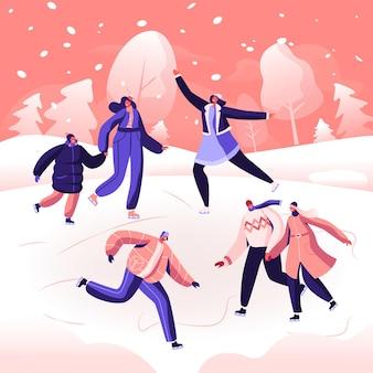 Szczęśliwi ludzie w ciepłych ubraniach na łyżwach po zamarzniętym stawie. płaskie ilustracja kreskówka