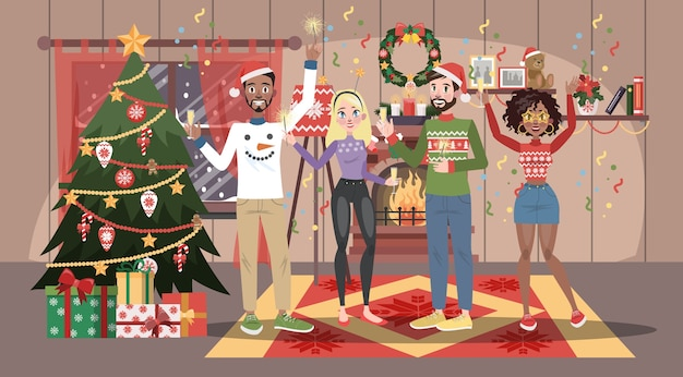 Szczęśliwi ludzie w czerwonym kapeluszu bawią się na wigilii. domowa impreza w dobrym towarzystwie. obchody nowego roku. wnętrze salonu. ilustracja