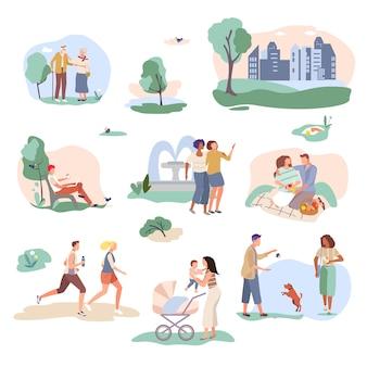 Szczęśliwi ludzie w parkowym mieście na ogrodnictwo charakteru natury kreskówki ilustraci odizolowywającej na bielu. mężczyzna, kobiety biegają, bawią się ze zwierzętami domowymi, spacerują z dziećmi w wózku, relaksują się na ławkach, trawniki w ogrodzie