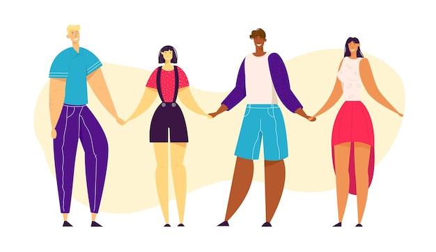 Szczęśliwi ludzie wielokulturowi trzymając się za ręce razem.