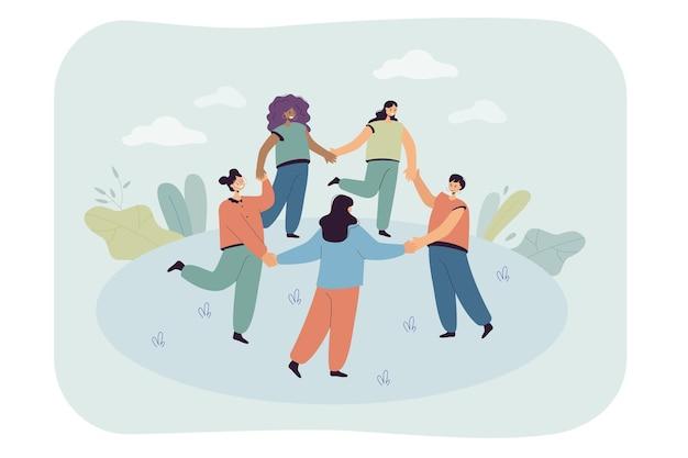 Szczęśliwi ludzie z kreskówek robią razem okrągły taniec