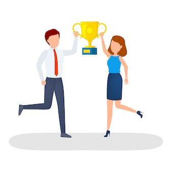 Szczęśliwi ludzie z złoty puchar trofeum świętują sukces.