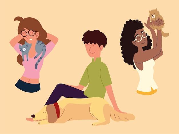 Szczęśliwi ludzie zwierzęta domowe, urocze psie koty