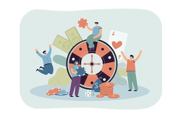 Szczęśliwi malutcy ludzie grający w ruletkę w kasynie płaska ilustracja