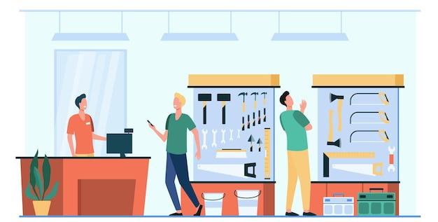 Szczęśliwi mężczyźni wybierając i kupując sprzęt na białym tle płaska ilustracja