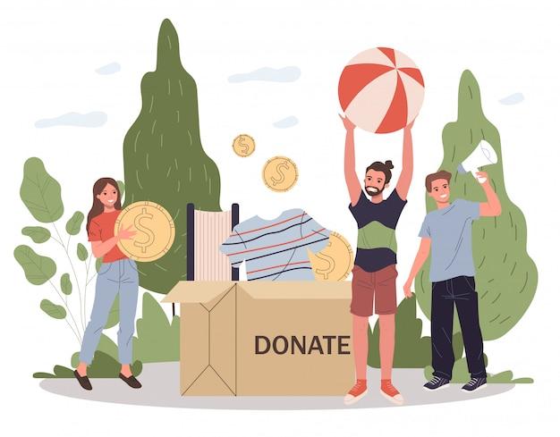 Szczęśliwi młodzi ludzie pakuje darowizny pudełko