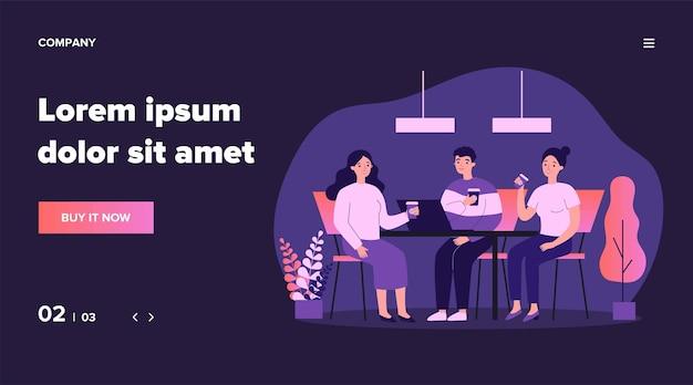 Szczęśliwi młodzi ludzie razem picia kawy na ilustracji obiad. spotkanie pracowników firmy w biurze do pracy. koncepcja pracy zespołowej i komunikacji.