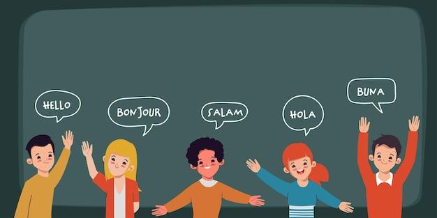 Szczęśliwi młodzi ludzie witają się w różnych językach
