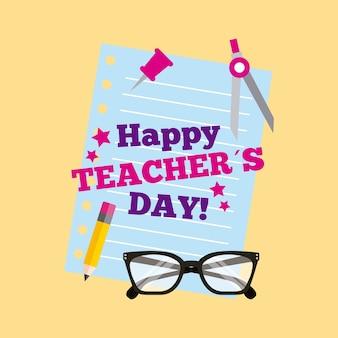 Szczęśliwi nauczyciela dnia karty literowania papieru pancil szkła