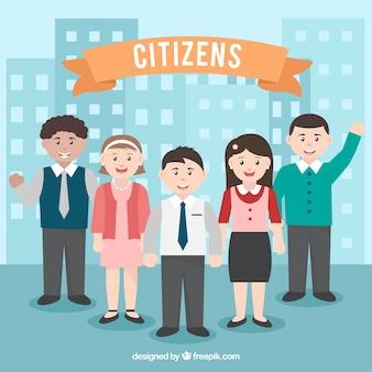 Szczęśliwi obywatele o płaskim wzornictwie