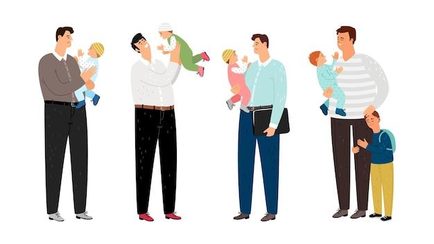 Szczęśliwi ojcowie. tatusiowie z małymi dziećmi.