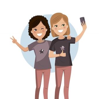 Szczęśliwi przyjaciele bierze selfie. dziewczyny są fotografowane razem.