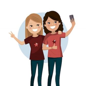 Szczęśliwi przyjaciele bierze selfie. ładne dziewczyny są fotografowane razem.