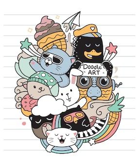 Szczęśliwi przyjaciele doodle