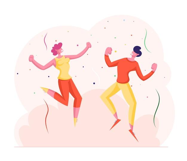 Szczęśliwi przyjaciele lub koledzy biznesowi mężczyzna i kobieta świętuje przyjęcie