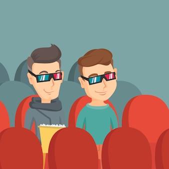 Szczęśliwi przyjaciele oglądają film 3d w teatrze.