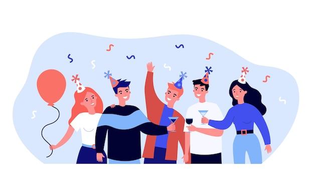 Szczęśliwi przyjaciele świętują i piją wino. szkło, czapka, ilustracja wektorowa płaskie party