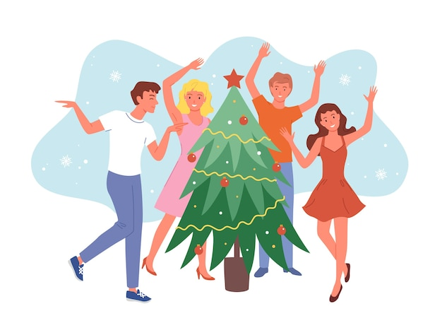 Szczęśliwi przyjaciele tańczą w pobliżu choinki, przyjęcie świąteczne, dziewczyny i chłopaki świętują nowy rok