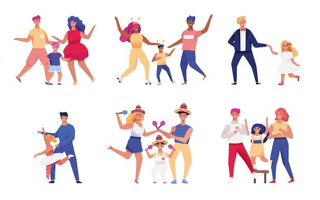 Szczęśliwi rodzice i dzieci tanczy wpólnie, ilustracja
