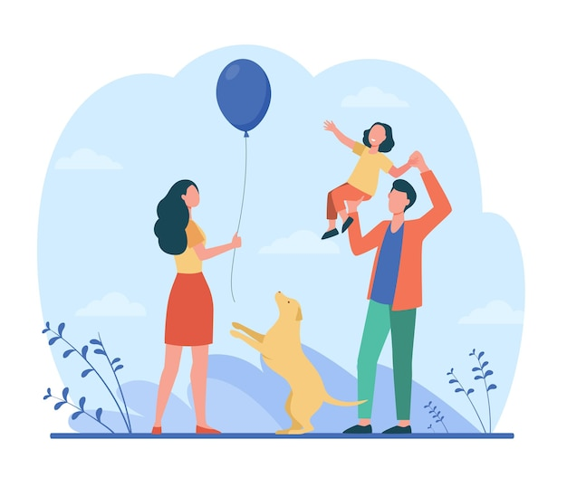 Szczęśliwi rodzice z córką, wspólna zabawa. ilustracja kreskówka