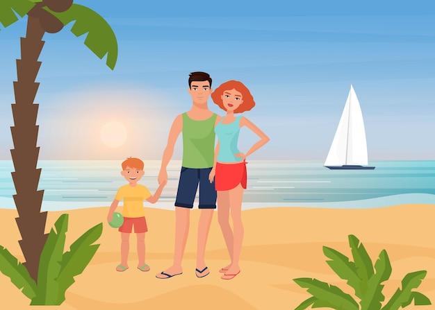 Szczęśliwi Rodzinni Ludzie Cieszą Się Rajskim Kurortem Na Tropikalnej Wyspie, Wakacjami Na Plaży Nad Morzem Premium Wektorów