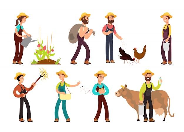 Szczęśliwi rolnicy z narzędziami rolniczymi i sadzenia znaków wektorowych