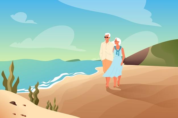 Szczęśliwi seniorzy spędzają razem czas na tropikalnej plaży. para na emeryturze na wakacjach. strona docelowa lub baner internetowy.