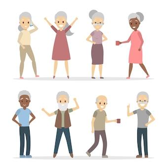 Szczęśliwi seniorzy z siwymi włosami na białym tle.